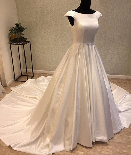 White round neck satin long prom gown, evening dresses,PD14013