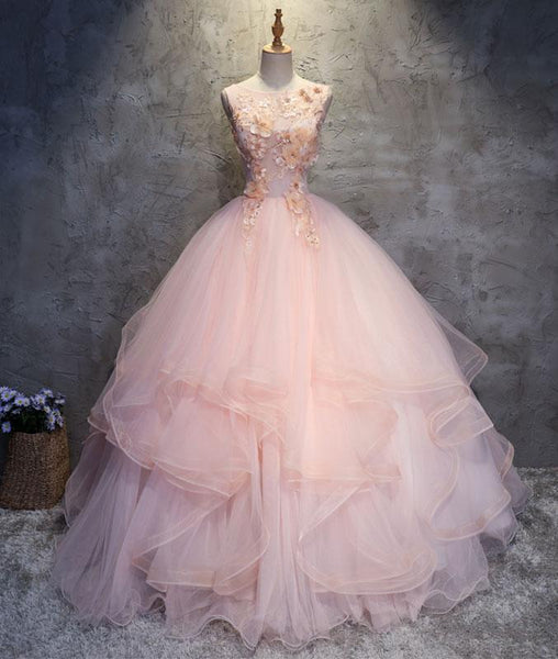 Pink round neck tulle lace applique long prom dresses, pink evening dresses