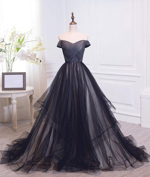 Simple black sweetheart tulle long prom dresses, black evening dresses