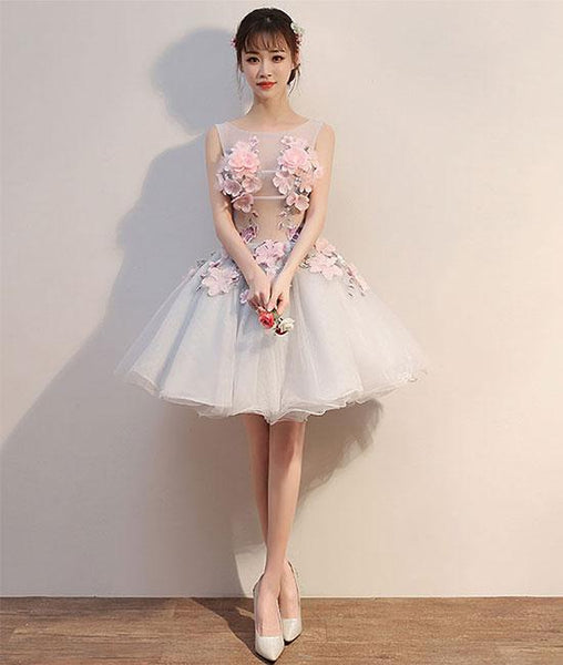 Gray round neck tulle lace applique short prom dresses, homecoming dresses