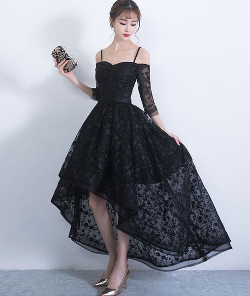 Black sweetheart lace high low prom dresses, lace evening dresses