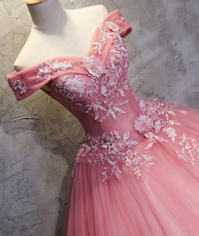 54661fa828 ... Pink sweetheart tulle lace applique long prom dresses