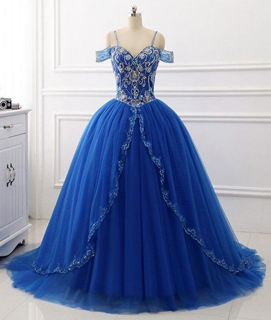 Blue sweetheart beads sequin long prom dresses, blue evening dresses,PD190001