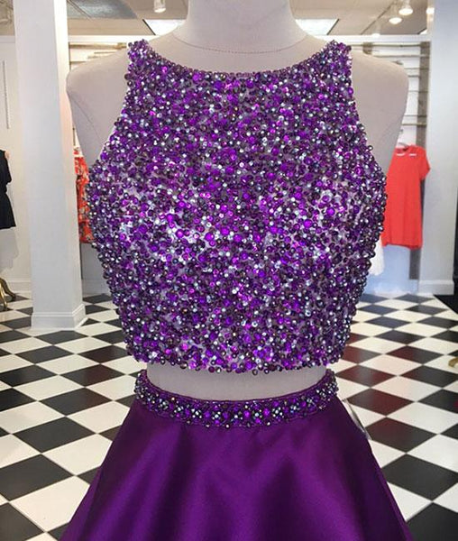 Purple two pieces sequin short prom dress, purple homecoming dresses,PD190005