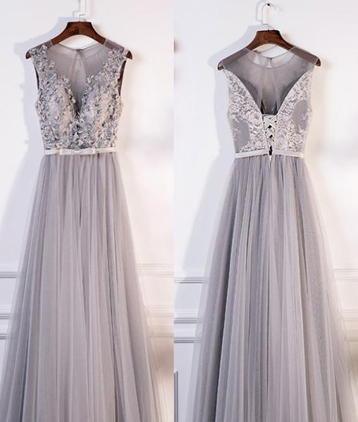 Gray round neck lace tulle long prom dress, gray evening dresses,PD200001