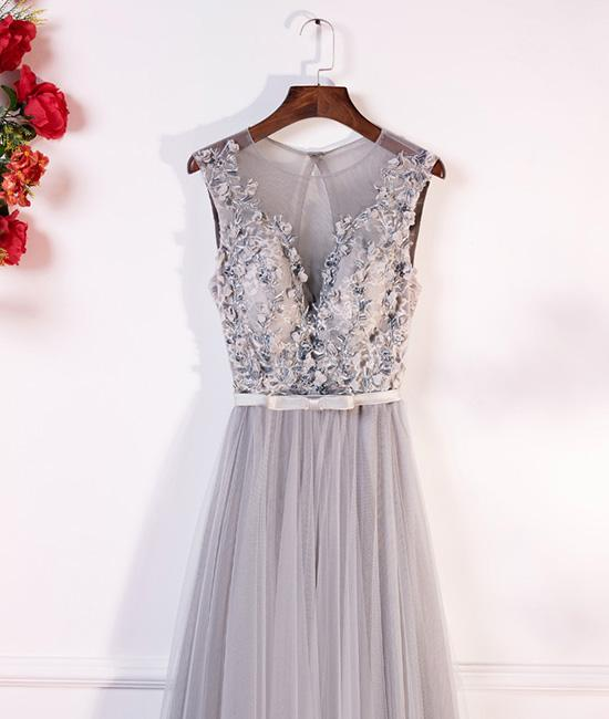 15301c5c96ffc0 ... Gray round neck lace tulle long prom dress, gray evening dresses,PD200001  ...