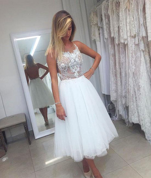 White tulle lace short prom dress, white homecoming dresses,PD200007