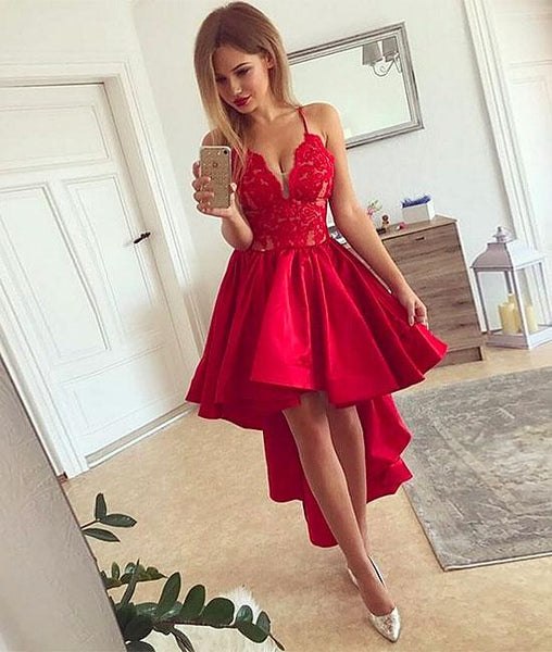 Red v neck high low prom dress, red homecoming dresses,PD200009