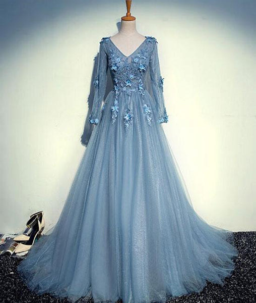 Blue v neck tulle lace long prom dress, tulle evening dresses,PD200011