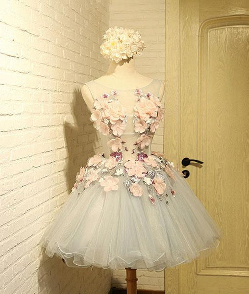 Cute round neck gray tulle lace applique short prom dresses,PD210001