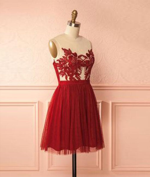 tulle lace short prom dresses, homecoming dresses,PD210005