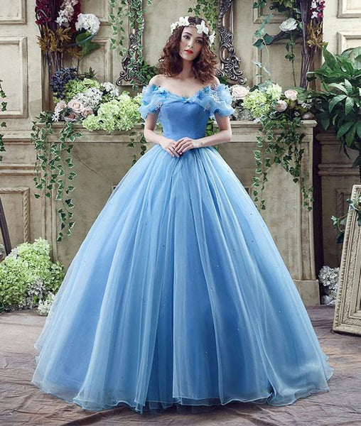 Blue tulle long prom dresses, blue tulle long evening dresses, sweet 16 dresses,PD210007