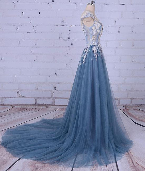 round neck applique tulle long prom dresses, tulle evening dresses,PD210008