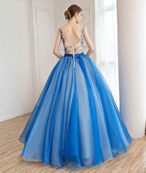 Royal blue tulle applique long prom dresses, blue evening dresses,PD210010