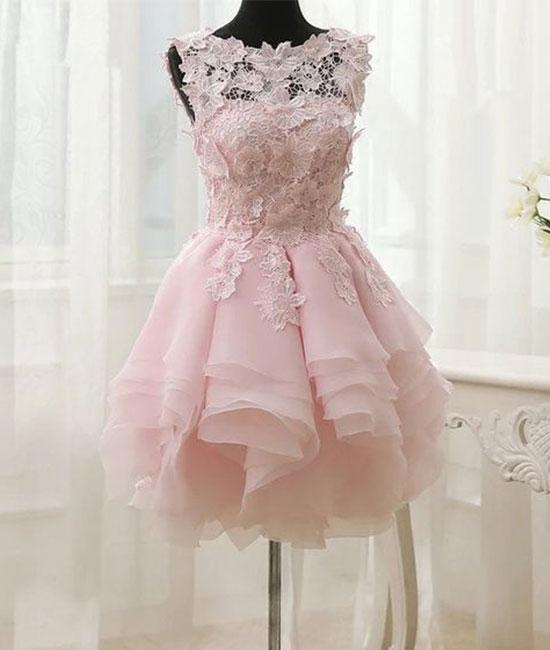 Pink lace short prom dresses,pink homecoming dresses,PD210013