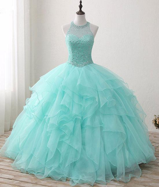 c7efcf931283 Cute green round neck tulle beads long prom dresses