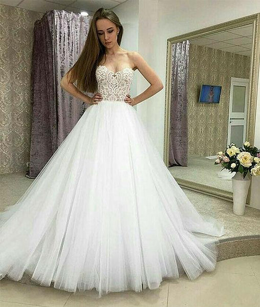 White sweetheart neck lace tulle long prom dresses, lace evening dresses,PD220001