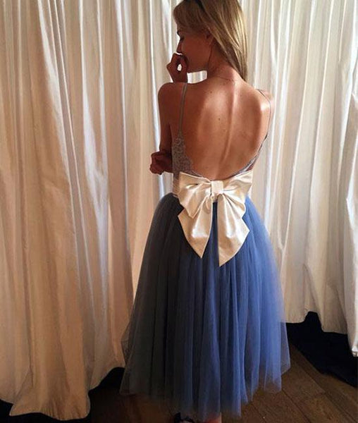 Cute blue lace tulle short prom dresses, homecoming dresses,PD220002