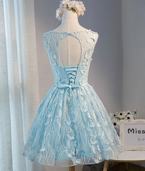 Cute blue round lace short prom dresses, blue homecoming dresses,PD220003