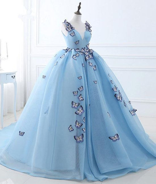 Cheap v neck blue long prom dresses, sweet 16 dresses,PD220004