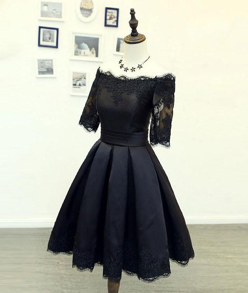 black lace short prom dresses, black homecoming dress, bridesmaid dresses,PD220006