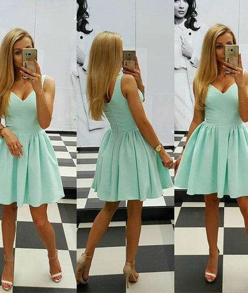 simple v neck green short prom dresses, green short homecoming dresses,PD220013