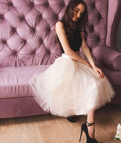 Cute two pieces tulle short prom dress, cute homecoming dresses,PD220012
