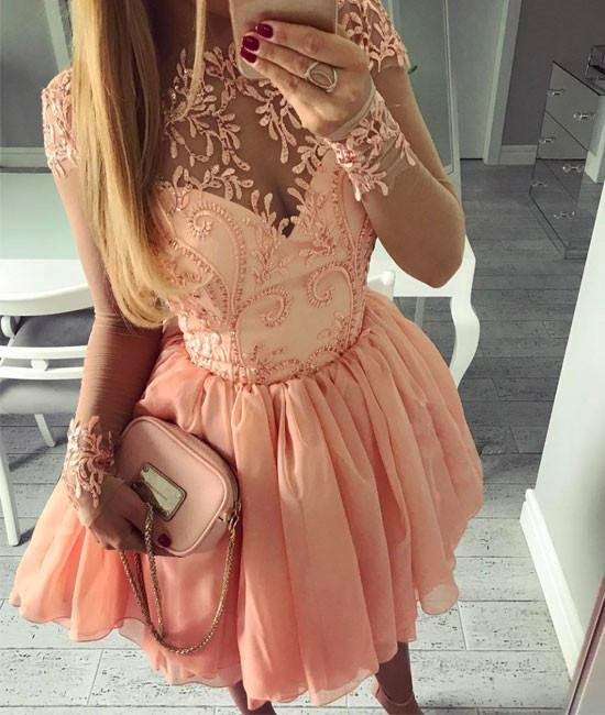 Cute pink tulle short prom dress, pink homecoming dresses,PD250001
