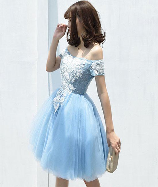 Cute tulle blue lace applique short prom dress, cute homecoming dresses,PD250002