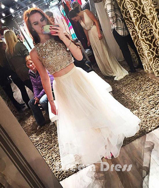 White two pieces sequin tulle prom dress, white evening dresses,PD250004