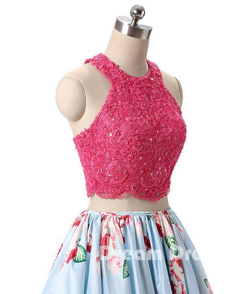 Pink lace short prom dresses, pink cute homecoming dresses,PD250009