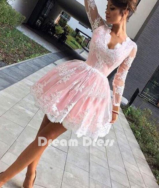 cute pink lace short prom dresses, pink lace homecoming dresses,PD250013