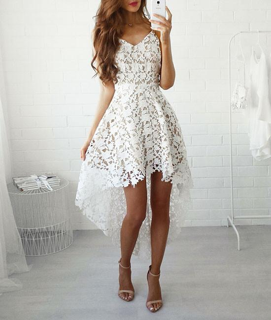 white A-line lace high low prom dress, lace homecoming dresses,PD250020