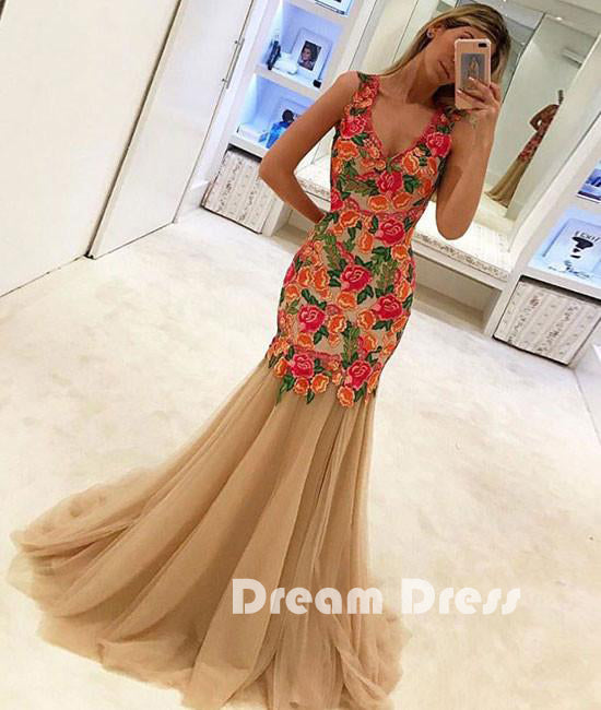 unique lace applique tulle long prom dresses, evening dresses,PD260001