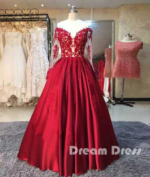 Red long sleeves lace long prom dress, red evening dress