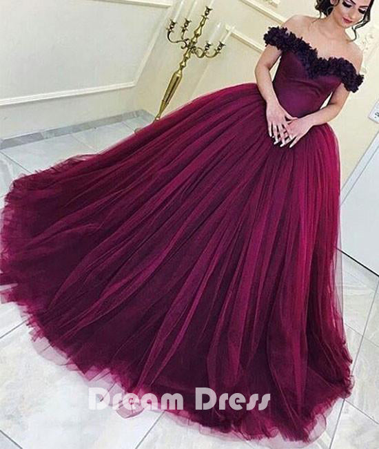 Burgundy tulle long prom gown, burgundy evening dress