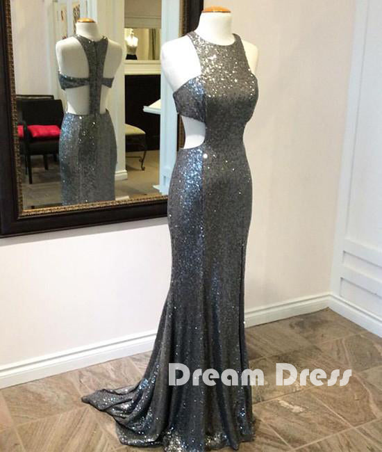 Unique gray sequin mermaid long prom dress, gray evening dress