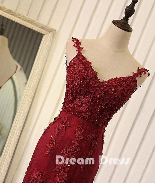Red v neck lace mermaid long prom dress, red evening dress