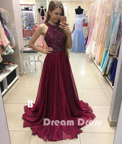 chiffon long prom dress, burgundy evening dress