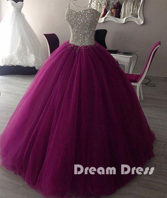 Sweetheart neck tulle prom dress, evening gown, sweet 16 dresses