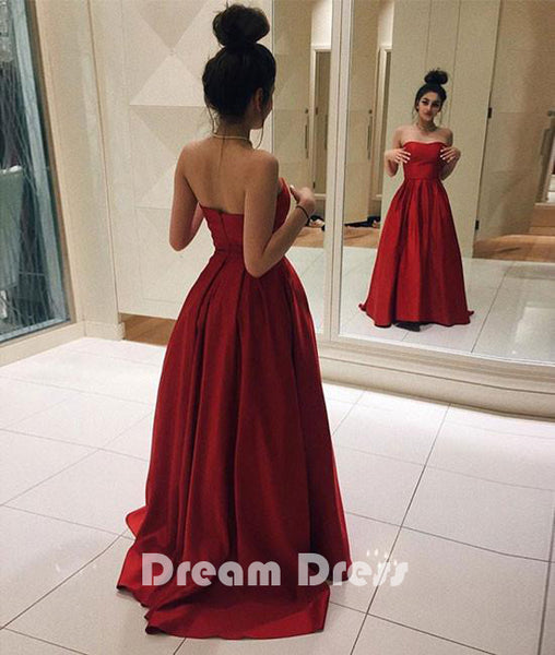 Red satin long prom dress, simple red evening dress
