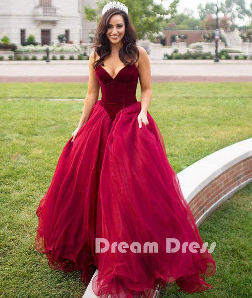 Simple sweetheart tulle long prom dress, evening dresses,PD270002