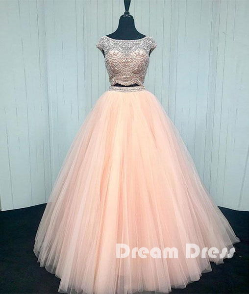 Pink two pieces beads tulle long prom dress, pink evening dresses,PD270003