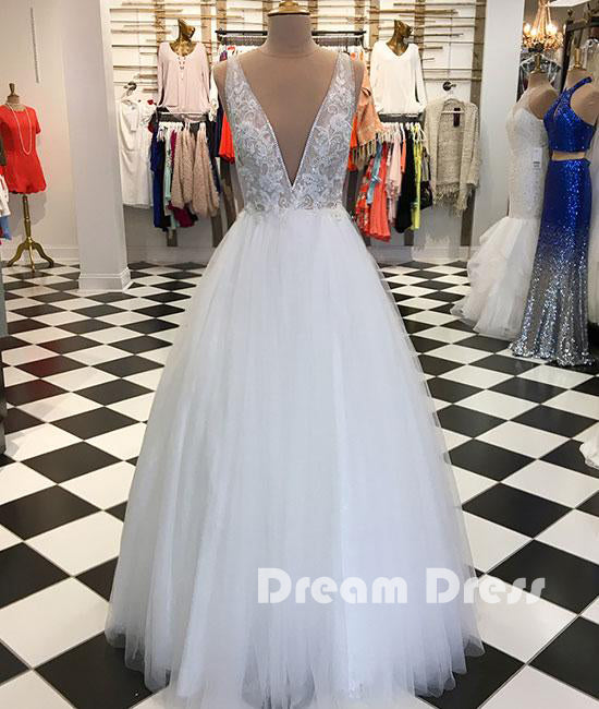 White v neck tulle lace applique long prom dress, white evening dresses,PD270004