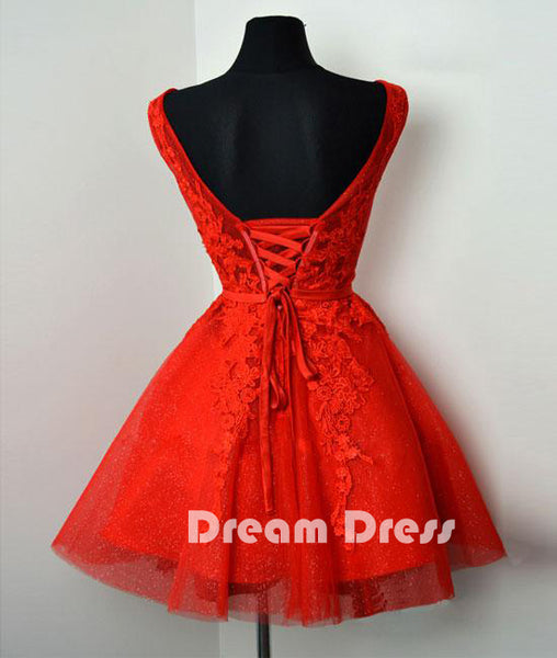 Red v neck lace tulle short prom dresses, red homecoming dresses,PD270005