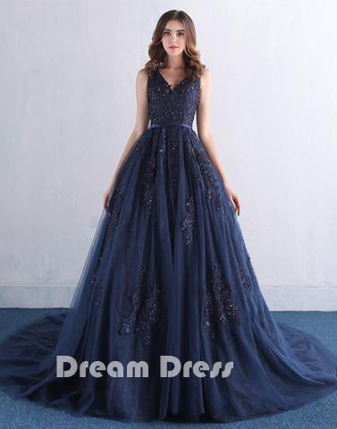 dark blue v neck lace tulle long prom dress, lace evening dresses,PD270007