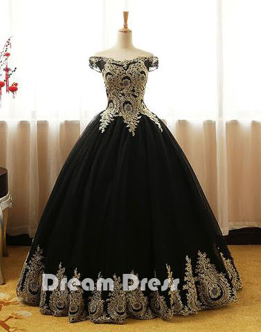 Black lace long prom dresses, black evening dresses,PD270009