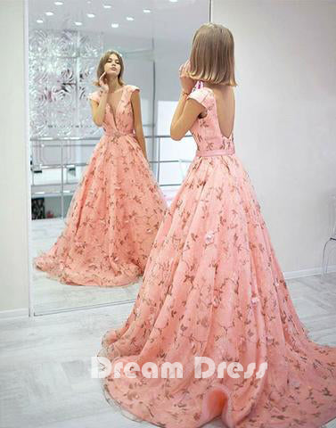 Stylish pink floral pattern long prom dress, pink evening dresses,PD270012
