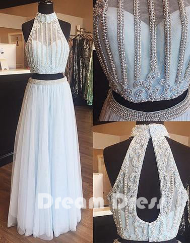 Light blue tulle pearl long prom dress, two pieces evening dresses,PD270014