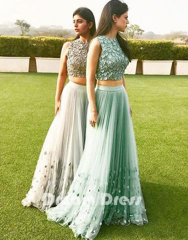 Elegant A-line tulle two pieces long prom dress. tulle formal dresses,PD270018